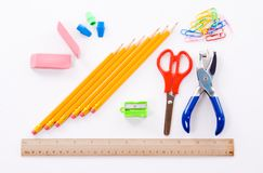 Office and School Supplies. Back to School and Office Supplies Royalty Free Stock Photo