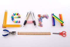 Office and School Supplies. School Supplies forming the word Learn Stock Images