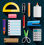 Office and School Supplies Flat Images Illustration Royalty Free Stock Photo