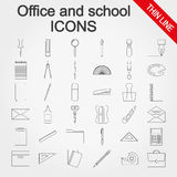 Office and school supplies icons set Royalty Free Stock Photos