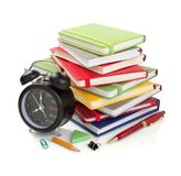 Office and school supplies isolated at white. Background royalty free stock photography