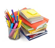 Office and school supplies isolated at white. Background stock photography