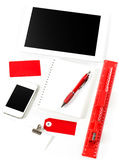 Office and school supplies over white background Stockfoto