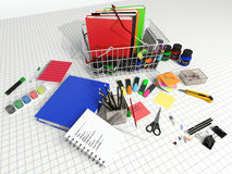 Office and school supplies on a white background Royalty Free Stock Image