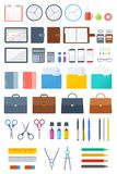 Office, business supply and stationery flat vector icon set. Office and school supply flat icon set. Business and education stationery vector illustrations set Royalty Free Stock Image