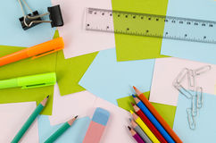 Office, school tools on colorful background Stock Images