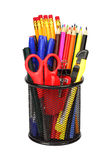 Office and school tools in pencil cup isolated. Stock Photo