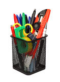 Office and school tools in pencil cup isolated. Royalty Free Stock Photos