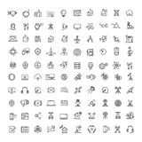Office, science, technologies, space and communication line icons set. Collection of technology and science communication icons illustration Royalty Free Stock Photography