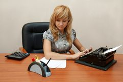 Office. Secretary is typing... Stock Photo