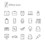 Office set icon. Outline office icon , illustration for web design etc Stock Photography