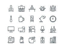 Office. Set of outline vector icons. Includes such as Business Meeting, Workplace, Building, Stationery and other. Office. Set of outline vector icons. Includes Stock Image