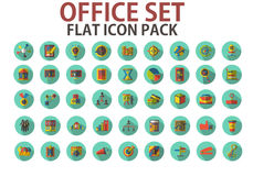 Office set, pack, collection flat icons with long shadows Stock Images