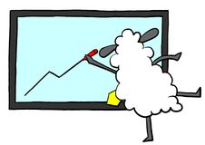 Office sheep drawing graph. For presentation Royalty Free Stock Photos