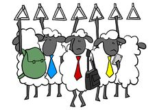 Office sheep on subway. Sheep on crowded subway in rush hour Stock Images
