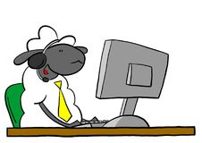 Office sheep talking on headset Royalty Free Stock Images