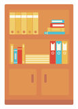 Office shelves with folders. Vector flat design illustration isolated on white background Stock Images
