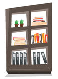 Office shelves with folders vector illustration. Office shelves with folders vector flat design illustration  on white background Royalty Free Stock Photo