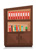 Office shelves with folders vector illustration. Office shelves with folders vector flat design illustration  on white background Stock Photos
