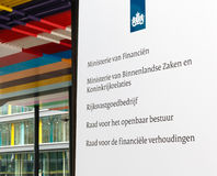 Office sign at the Dutch Ministry of Finance, Ministry of Interi Stock Photography