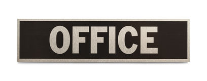 Office Sign. Metal Business Office Sign Isolated on a White Background Royalty Free Stock Photo