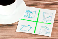 Office signs on a napkin Stock Photography