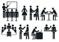 Office silhouetted icons Stock Images
