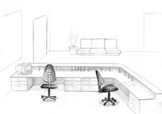 Office sketch. Hand drawn pencil sketch of office interior with chairs and sofa Royalty Free Stock Photography