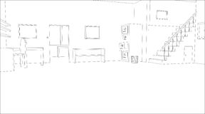 Office sketch. Editable vector outline sketch of an empty office interior