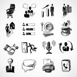 Office sketch icons set. Office business sketch icons set with tea cup handshake chart isolated vector illustration Stock Photos