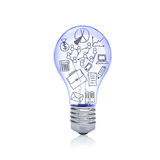 Office sketches inside light bulb Stock Photos