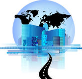 Office Skyline With Road And World Globe Stock Photo