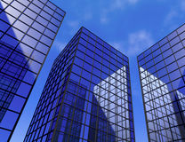 Office skyscraper buildings window glass mirror 3D illustration Royalty Free Stock Images