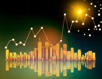 Office skyscrapers and chart on abstract Stock Images
