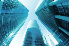 Office skyscrapers perspective blue Royalty Free Stock Photography