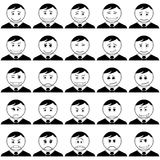 Office smileys, set, black contour Royalty Free Stock Images