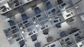 Office space. Modern office open space interior, top view Stock Images