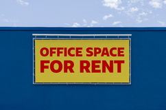 Office space for rent. Written on a billboard Stock Photo