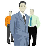 Office staff. Three men, office workers on the white Stock Photos