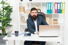 Office staff concept. Office routine. Businessman in charge of business solutions. Developing business strategy. Risky. Business. Man bearded boss sit with royalty free stock image
