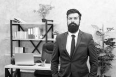 Office staff. HR director. HR management. HR job description. Head of human resources department. Man bearded serious. Office background. Provide consultation stock photography