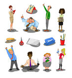 Office staff. Illustrated collection of office workers and stationery. Original hand drawn objects Royalty Free Stock Photos