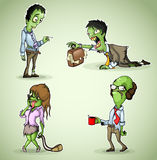 Set of four office zombie royalty free stock photography