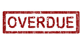 Office Stamp - OVERDUE. Grunge Office Stamp with the words OVERDUE in a grunge splattered text. (Letters have been uniquely designed and created by hand vector illustration