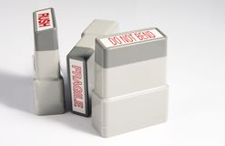 Office Stamps. Used for packages that are fragile, you don't want bent and rush delivered Stock Images