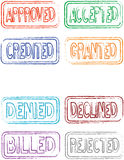 Office Stamps Vol 1. Set of 8 office stamps - fuzzy outlines to give it a vintage look - individual stamp size is approx. 6 x 2.8 @ 300dpi Royalty Free Stock Photography