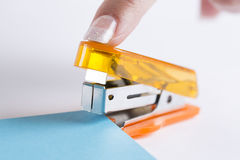 Office stapler ready to staple paper Royalty Free Stock Image