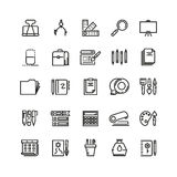 Office stationery, drawing and writing line vector icons Royalty Free Stock Photos