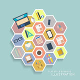 Office stationery elements in flat design Stock Photography