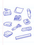 Office stationery icons. On note pad vector illustration